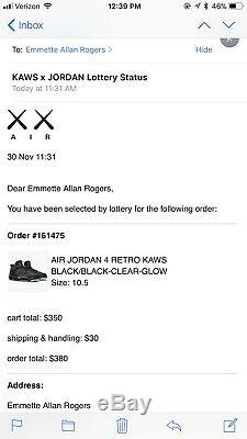 Air Jordan 4 Kaws Black Grey Size 10.5 Retro Yeezy Rare Jordan 11 Bred