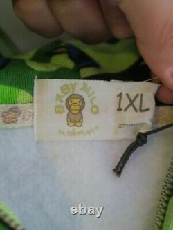 Bape Baby Milo X Kaws Animal Green Camo Print Full Zip Hoodie Sz XL