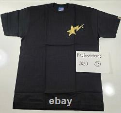 Bape a bathing ape gold star size L BLACK Tee X NEW