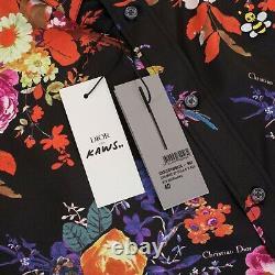 DIOR HOMME x KAWS 1150$ Shirt In Black Silk With'Bouquet De Fleurs Dior' Print