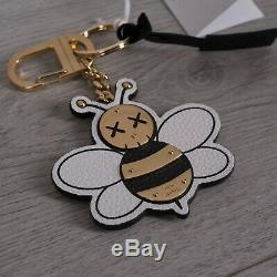 DIOR x KAWS 690$ Limited Edition Signature Bee Keyring In Brass & Leather