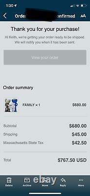 KAWS FAMILY BROWN / BLUE / WHITE Figure ORDER CONFIRMED! OPEN TO OFFERS