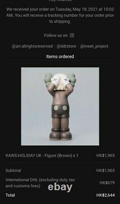 KAWS Holiday UK Vinyl Figure Brown IN HAND