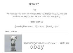 KAWS Holiday UK Vinyl Figure Grey (Confirmed Order)