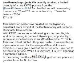 Kaws Beautiful Losers 2004 Offset Print Poster Unframed Art 17 x 11 Open