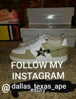 Kaws leather jbalvin bapesta a bathing ape bape shoes beige size 9.5 new