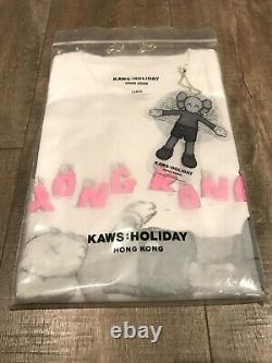 New! KAWS HOLIDAY Hong Kong T-Shirt White Large 100% Authentic IN HAND IN THE US