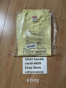 Supreme KAWS Chalk Box Logo Tee Pale Yellow Medium IN-HAND Size L Free Ship