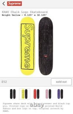 Supreme KAWS Chalk Logo Skate-Deck Bright Yellow