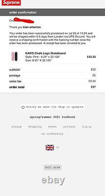 Supreme KAWS Chalk Skateboard Pink Deck Brand New