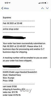 Supreme Kaws Chalk Box Logo Washed Navy Size XL In Hand